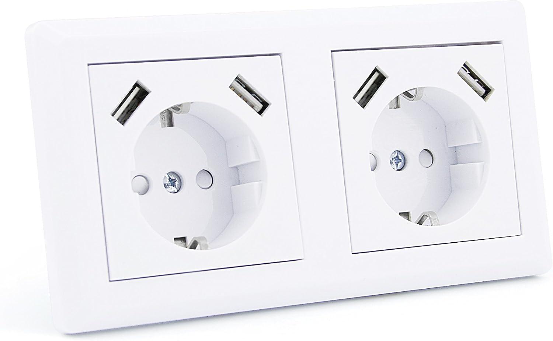 entr/ée AC 250 V 16 A max et 1 UE Fiche prise de courant avec 2 ports USB Mat/ériau PC ignifuge VO puce IC int/égr/ée intelligente Prise murale courant 2A