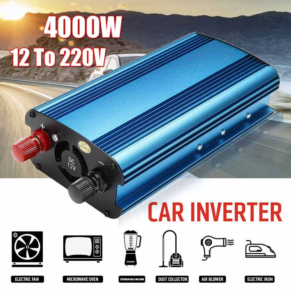 ROKOO Convertisseur d'énergie solaire de voiture de 3000W/4000W DC 12/24V à CA 220V convertisseur d'onde sinusoïdale modifié