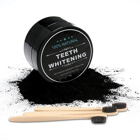 Dental Blanqueamiento Polvo de Carbón Activado, Extracto de Coco Natural Polvo de Charcoal Blanqueador de