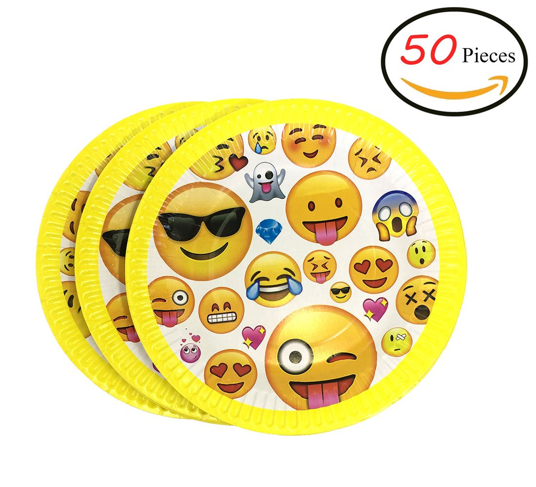 Paper Party Plates 7-inch Disposable Perfect for Wedding ,Birthdays, Pool Parties, BBQs, Crafts, Prizes, and Games ,50-Pack