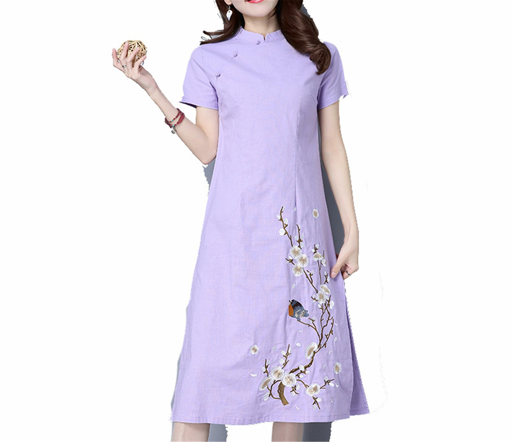 Coac3 Print Chinese Traditional Dress Cheongsam Women Mandarin Collar Oriental Dresses Evening Dress Color1 XXXL