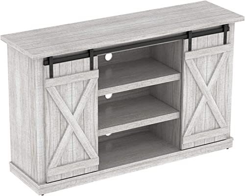 Simple Living Products Industrial 54 TV Stand – Antique Rustic Look – Sliding Doors – Vintage Design White Oak