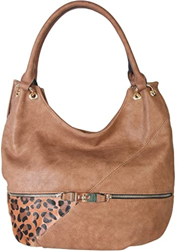 bbfc6ea48e Amazon.com  Brown Faux Leather Patch of Leopard Print Shoulder Bag Hobo  Purse Handbag  Shoes