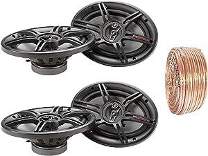 Car Speaker Package of 2X Crunch CS693 6x9-Inch Full Range 3-Way Black Upgarde Audio Stereo Coaxial Speakers Bundle Combo with Enrock 50 Foot 18 Gauge Speaker Wire