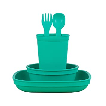 Amazon Com Re Play Made In The Usa Eco Friendly Dinnerware Set For Toddlers And Children Drinking Cup Deep Walled Plate Bowl Spoon Fork Set Aqua Baby