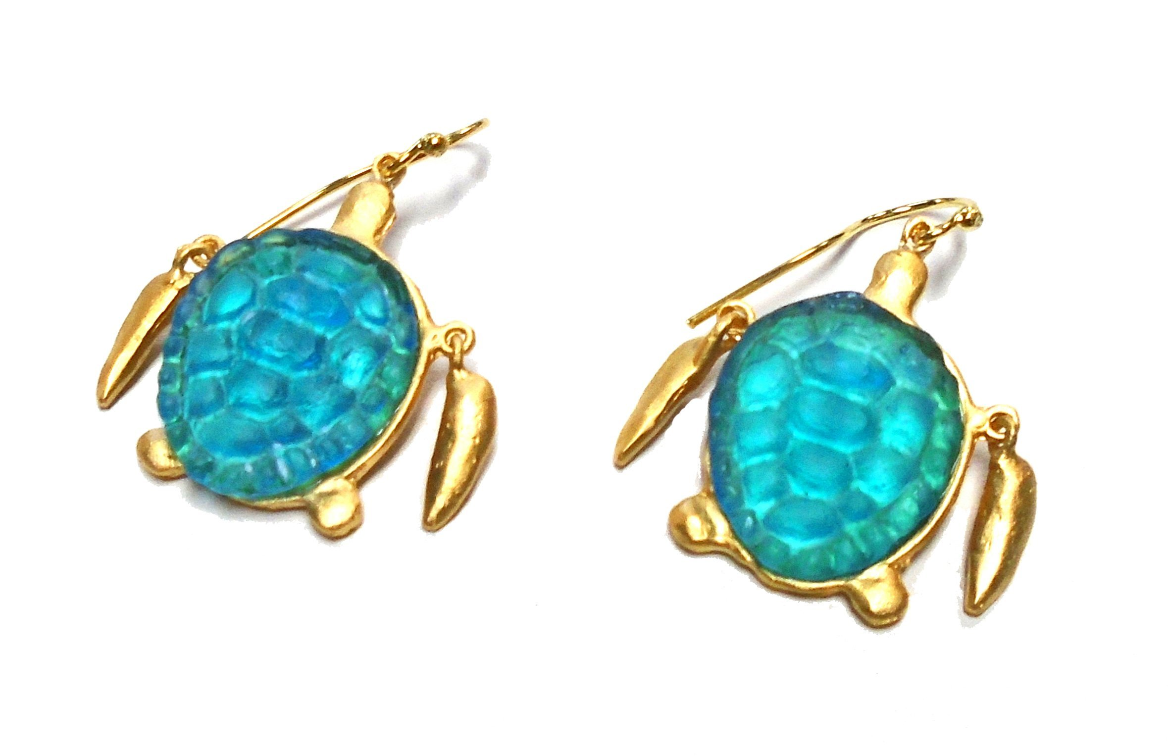 Michael Vincent Michaud- Glass ''Sea Turtle Wire Earrings'' in Turquoise