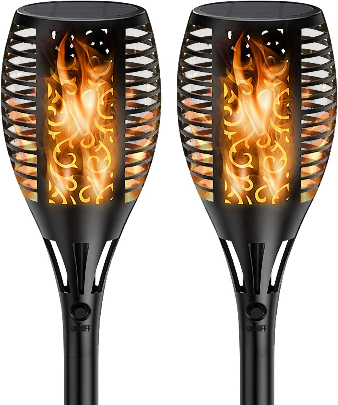 KIOVINO 2 Pack Solar Torch Lights Outdoor Flame Flickering Solar Lights Upgraded Waterproof 96 LED Solar Torches Pathway Landscape Garden Yard Decoration 2 Pack