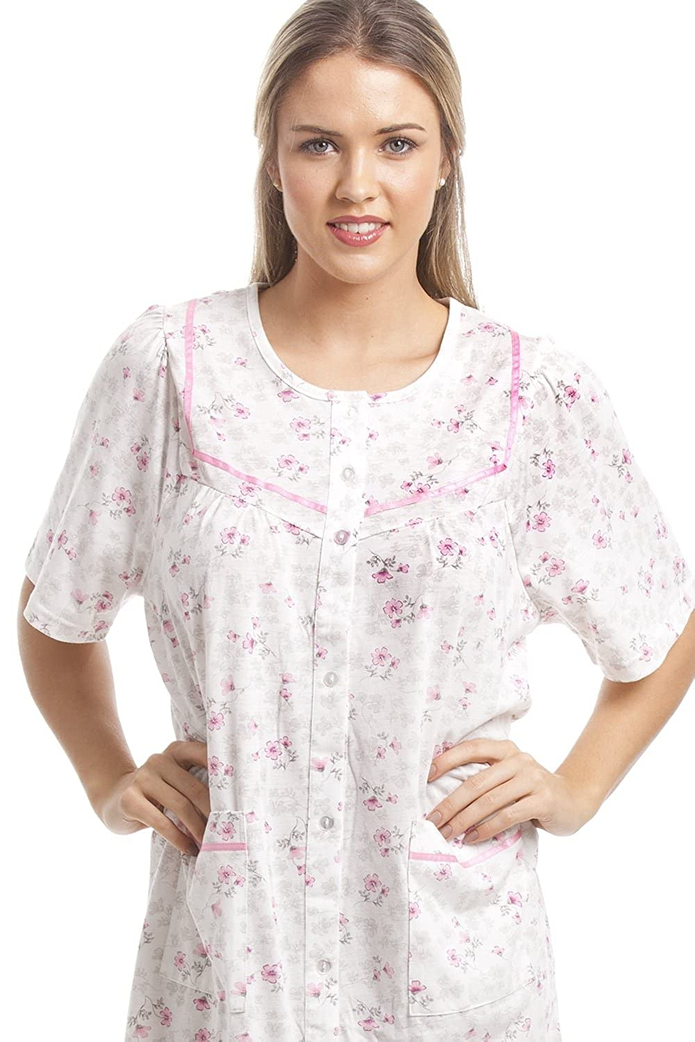 afc3929c5b Camille Womens Ladies Classic Pink Floral Print White Short Sleeve Button  Up Nightdress 10 12  Camille  Amazon.co.uk  Clothing