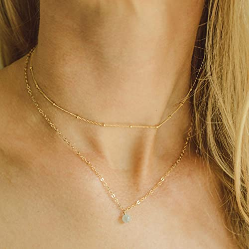 Large Aquamarine Pendant on Dainty Gold filled Chain Layering Necklace