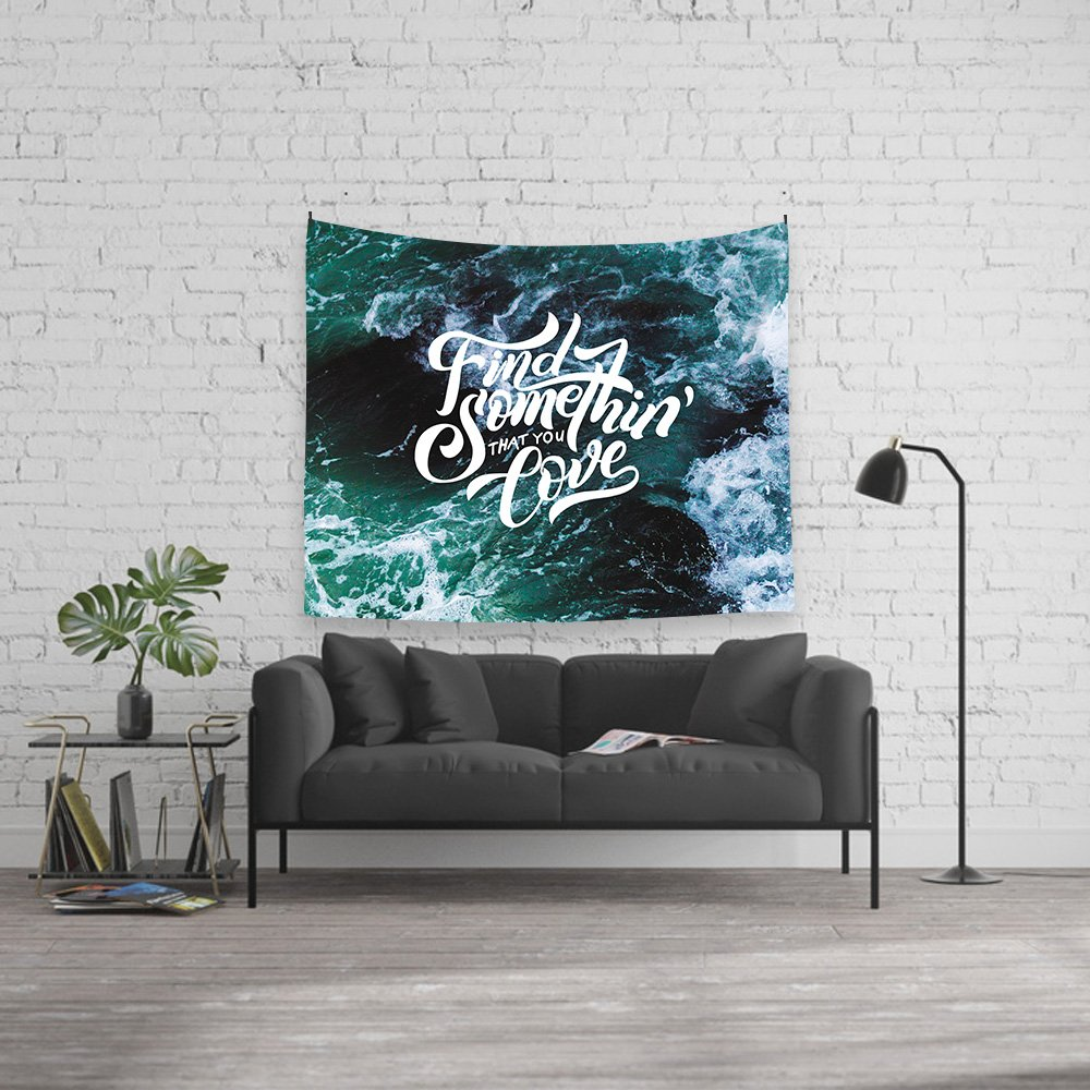 Ocean and Type Tapestry Wall Hanging, Find Something That You Love, Fabric Home Dorm Decor 59''x78.7'' (Find) by Orange Design (Image #2)