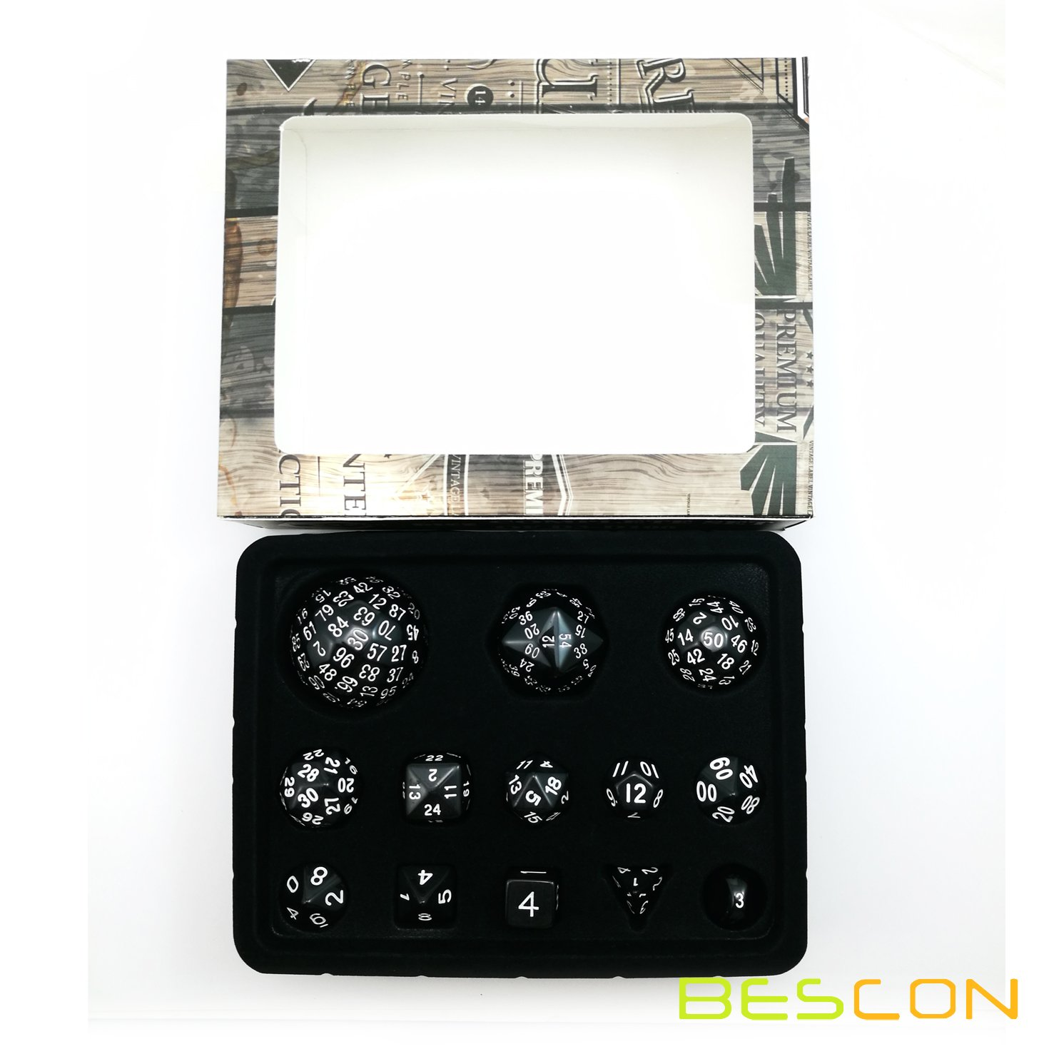 Bescon Complete Polyhedral Dice Set 13pcs D3-D100, 100 Sides Dice Set Opaque Black by BESCON DICE (Image #4)