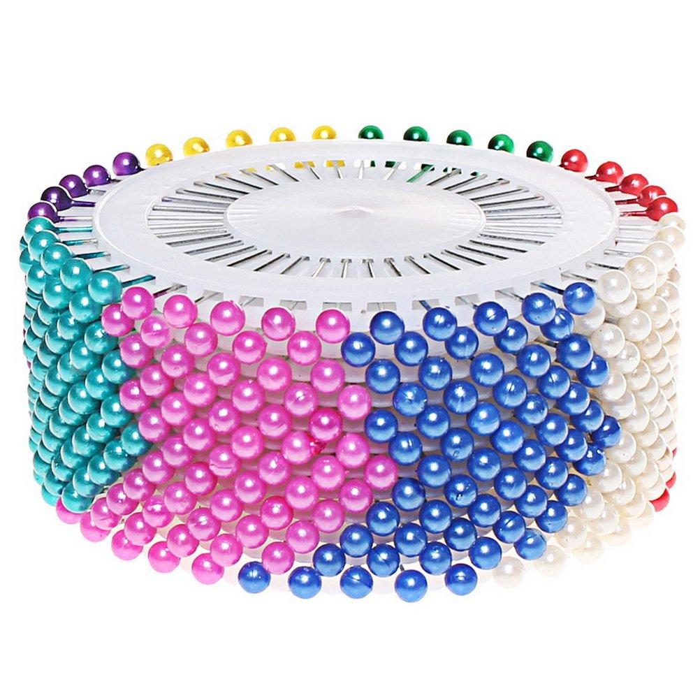 480 Pcs Head pins, Sicai Colors Round Pearl Straight Head Pins Dressmaking Sewing Pins