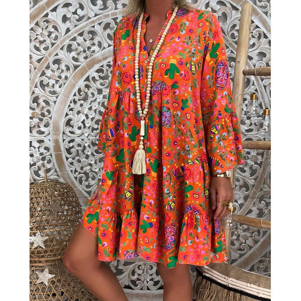 UOMOGO - Vestido informal para mujer, mini vestido con cuello ...