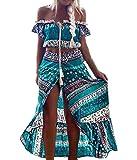 Conjuntos Mujer Verano Elegantes Manga Corta Cuello Barco Crop Tops Y Faldas Largas Vintage Hippies Estilo Etnico Boho Impresión Falda Vestidos Playa 2 Piezas Conjunto
