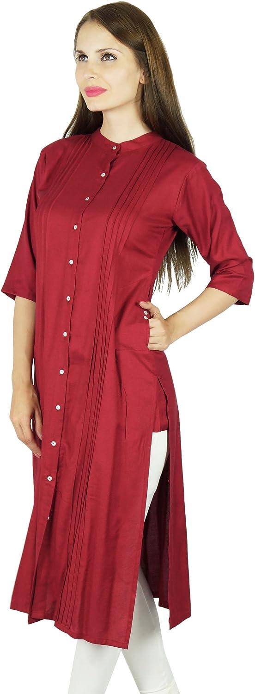 Bimba Women Button Down Rayon Kurta Kurti 3//4 Sleeve Formal Indian Casual Tunic Top