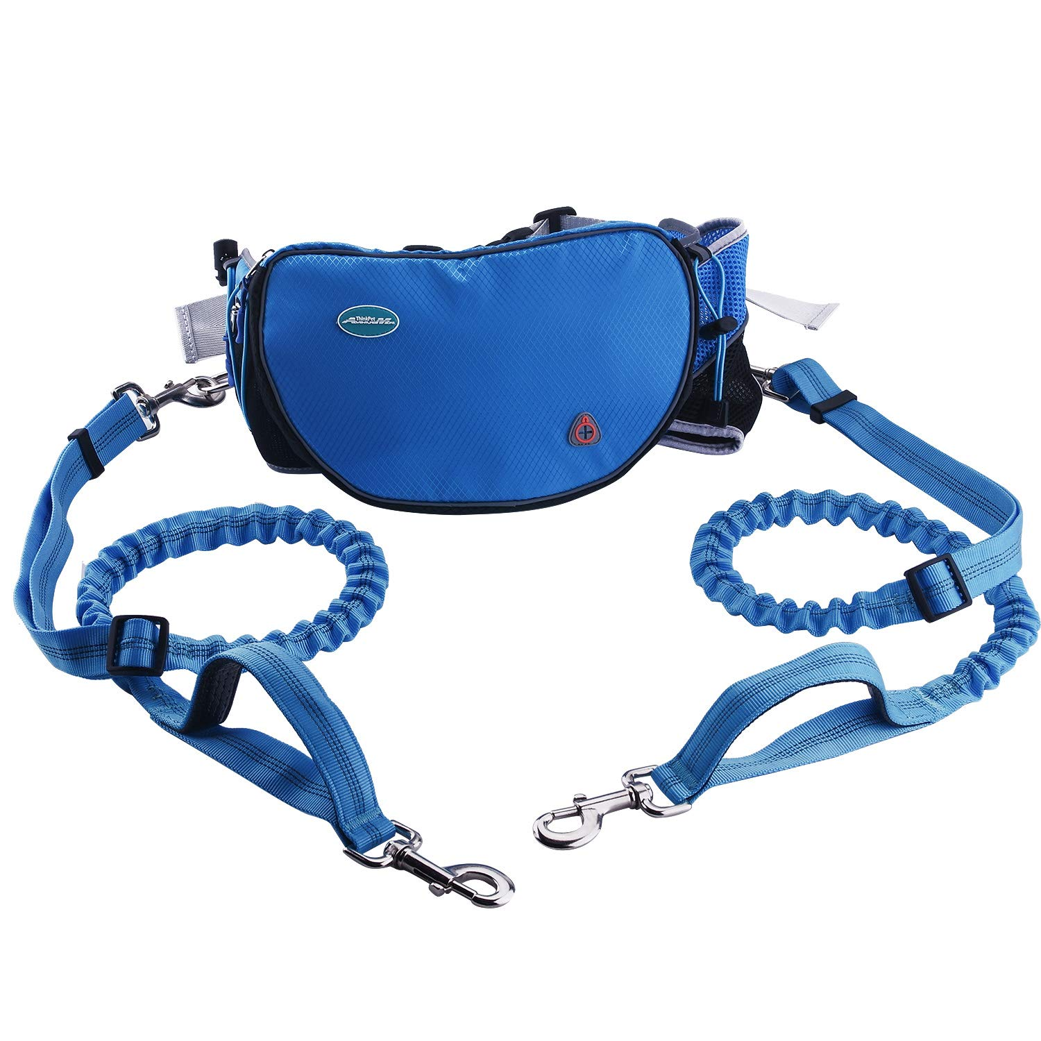 ThinkPet Hands Free Dog Leash for 2 Dogs - Shock Absorbing Bungee Leash for Medium to Large Dogs, Adjustable Waist Belt from 25.6'' to 49'', Dog Treat Pouch & Bottle Holder