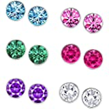 Om Jewells Crystal Combo Of 6 Multicolour Stud Earrings For Women Co1000048