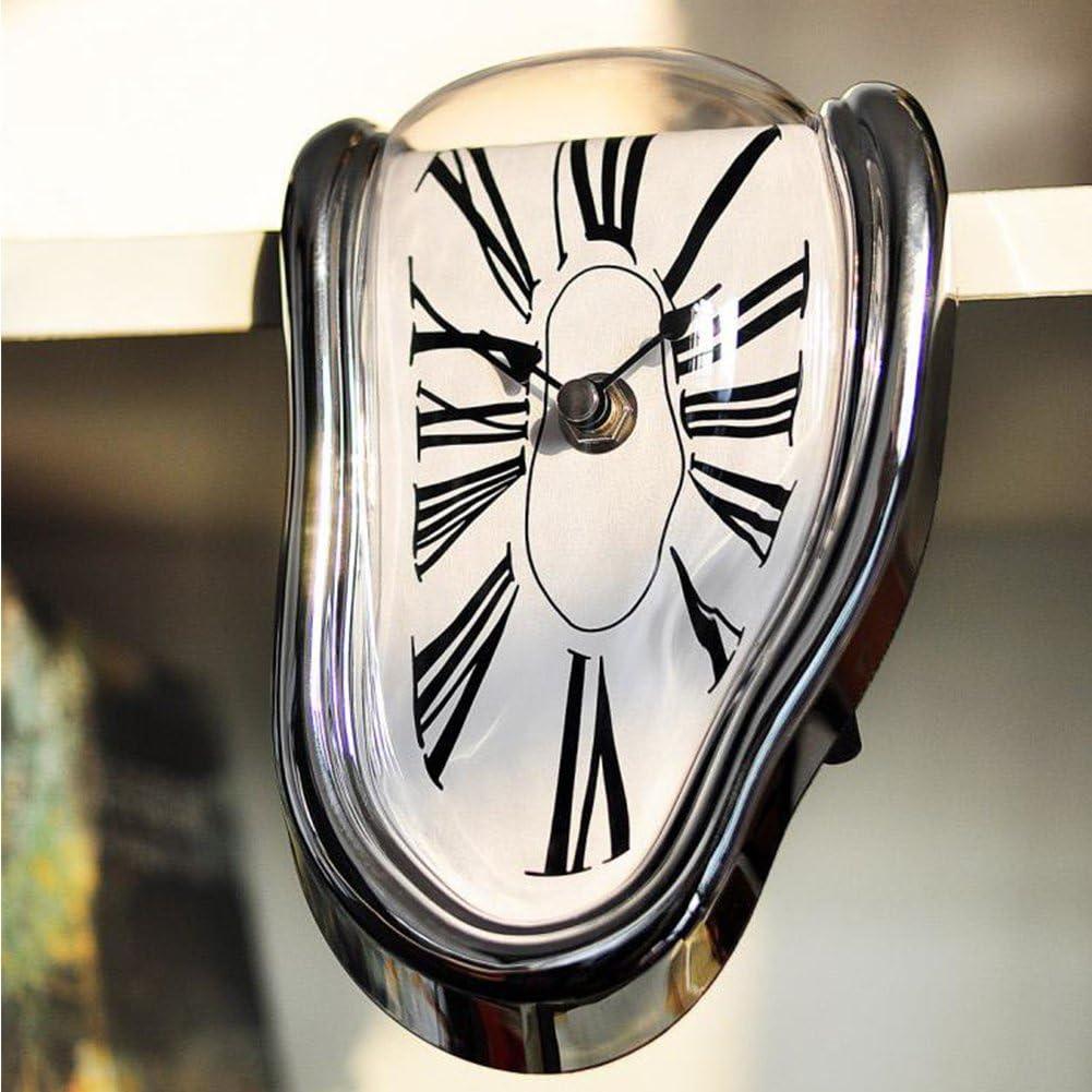 Reloj de pared decorativo superrealista fusión dormitorio plástico deformado plata salón cuarzo Dali estilo a pilas