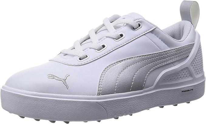 Puma MonoLite Zapatillas de golf para niños, ligeras, duraderas y cómodas, color blanco y plateado, ajuste normal 5: Amazon.es: Zapatos y complementos