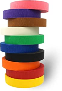 Colored Tape - Decorative Writable Masking Tape - Large Rolls - Classroom Decorations Art Projects For Kids Holiday Decorations - Bright Colors For Color Coding and Colored Labels