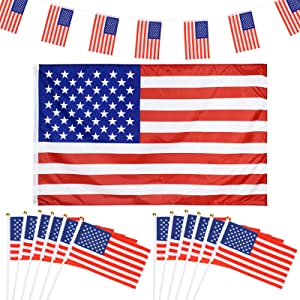 SUNKIM 53Pcs American Flag Banner String US Pennant flags Banners with Large USA Flag Handheld Small American Flags on Stick for 4th of July Decorations Ourdoor Patriotic Event World Cup Parade Party