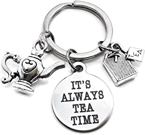 Tea Keychain, Teapot Keychain, Tea Bag Keychain, Tea Time Keychain, Gift for Tea Lover, Tea Charm Keychain, Tea Bag Charm, Teapot Charm, Tea Key Ring