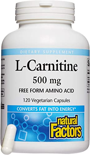 Natural Factors, L-Carnitine 500 mg, Supports Healthy Heart, Liver and Vascular Function and Energy Levels, 120 capsules 120'servings