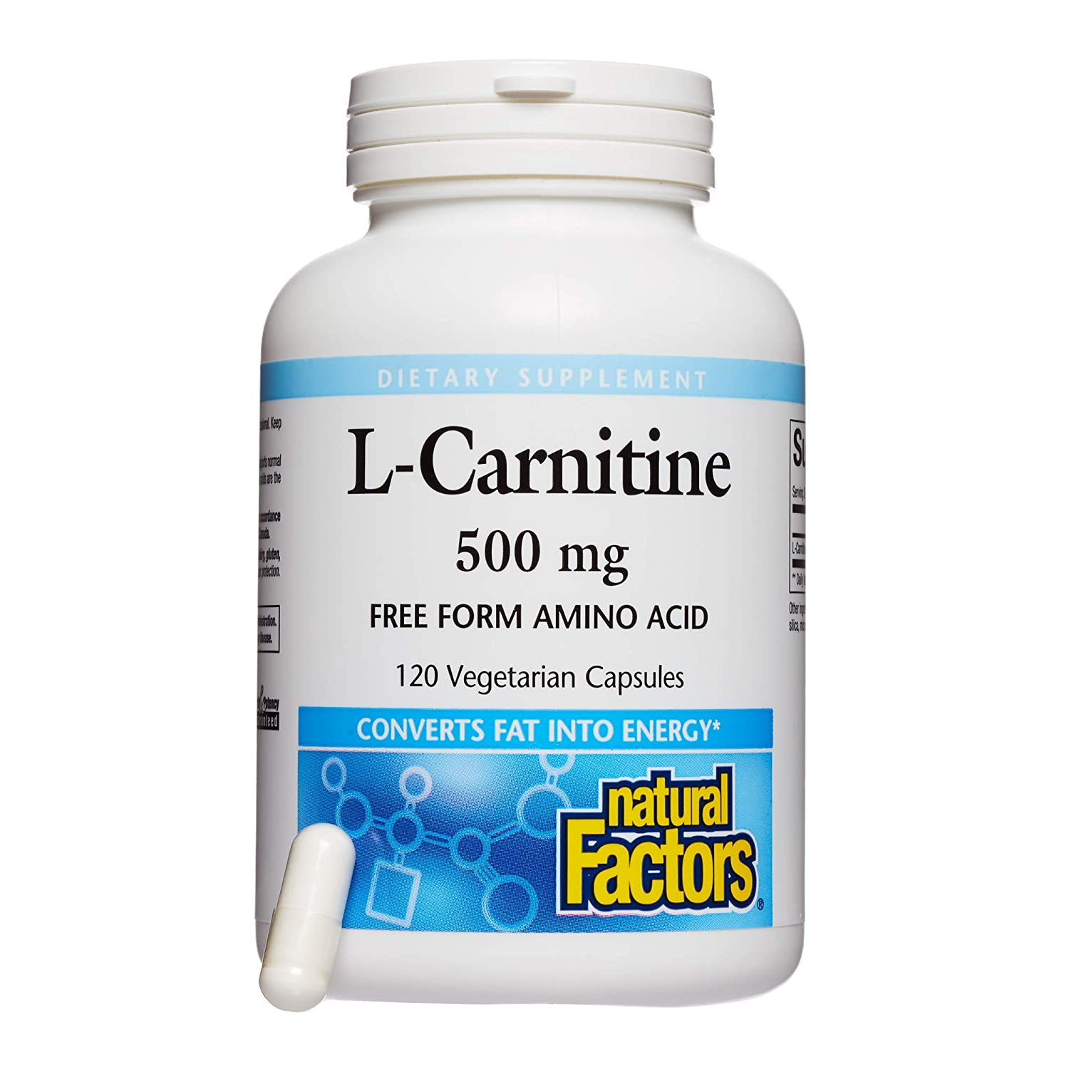 Natural Factors, L-Carnitine 500 mg, Supports Healthy Heart, Liver and Vascular Function and Energy Levels, 120 capsules 120 servings
