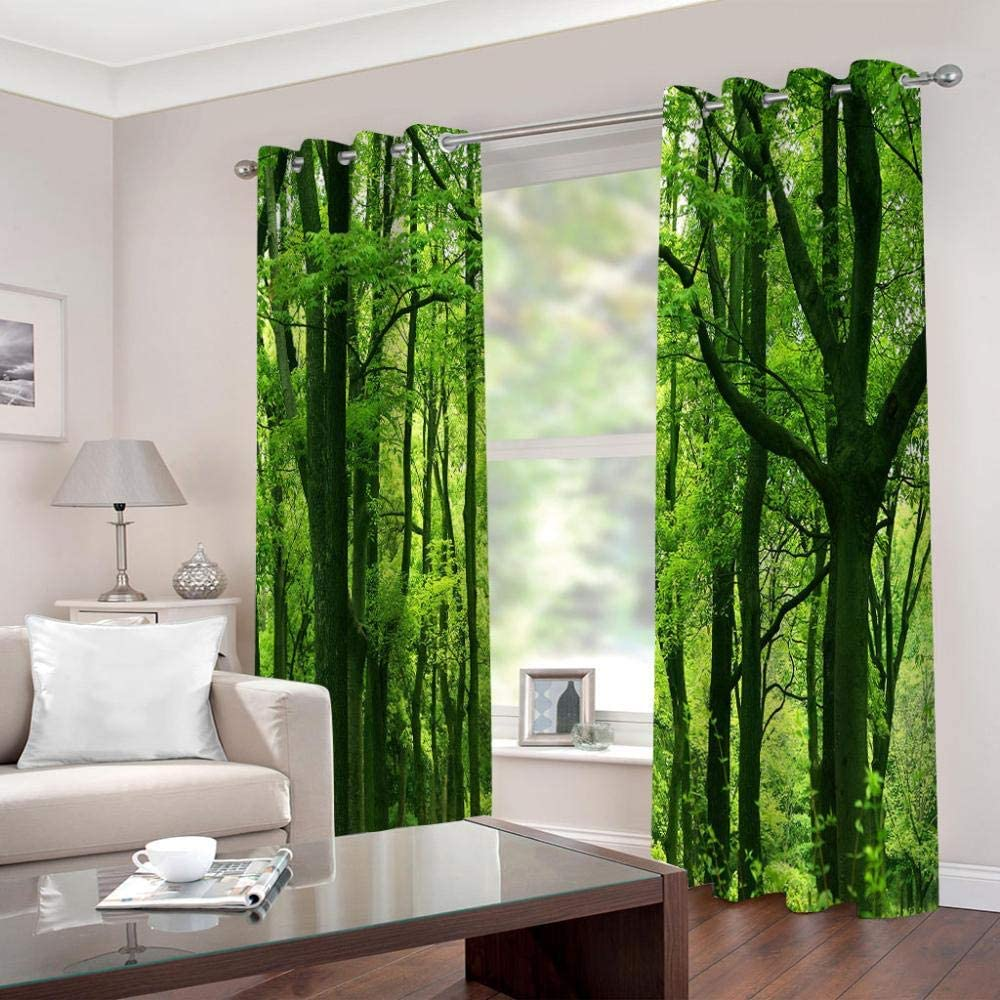 Giunuak Blackout Curtains 3D Printing Green Forest,Curtain Anti-Uv Printed Curtain Bedroom Super Soft Thermal Insulated Blackout Curtain Set150Wx166H Cm