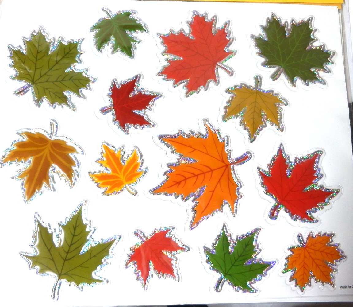 Leaf Window Stickers 16 Metallic Edged Fall Stickers Reusable Window Decals for Thanksgiving//Autumn Decoration Decor