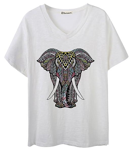 ca469e51733c48 Amazon.com  So each Women s Ladies Colourful Elephant Graphic V-Neck ...