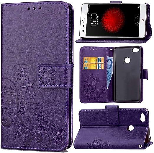 Guran Funda de Cuero PU para ZTE Nubia Z11 Mini Smartphone Función de Soporte con Ranura para Tarjetas Flip Case Trébol de la suerte en Relieve Patrón Cover: Amazon.es: Electrónica