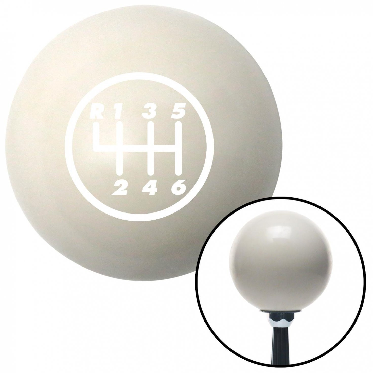 American Shifter 29268 Ivory Shift Knob White 6 Speed Shift Pattern - 6DR-RUL