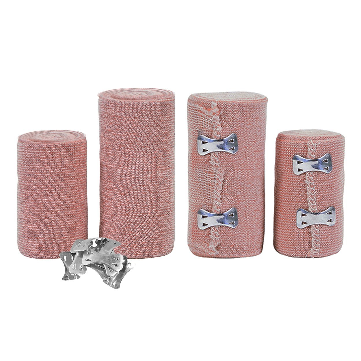 FlexTrek Set of 4 Elastic Bandage Wrap Compression Roll with Extra Metal Clips - Latex Free Medical Supplies – Great for Ankle Support, Arm, Leg or Chest injury - 2 Rolls of 3'' & 2 Rolls of 4-inch