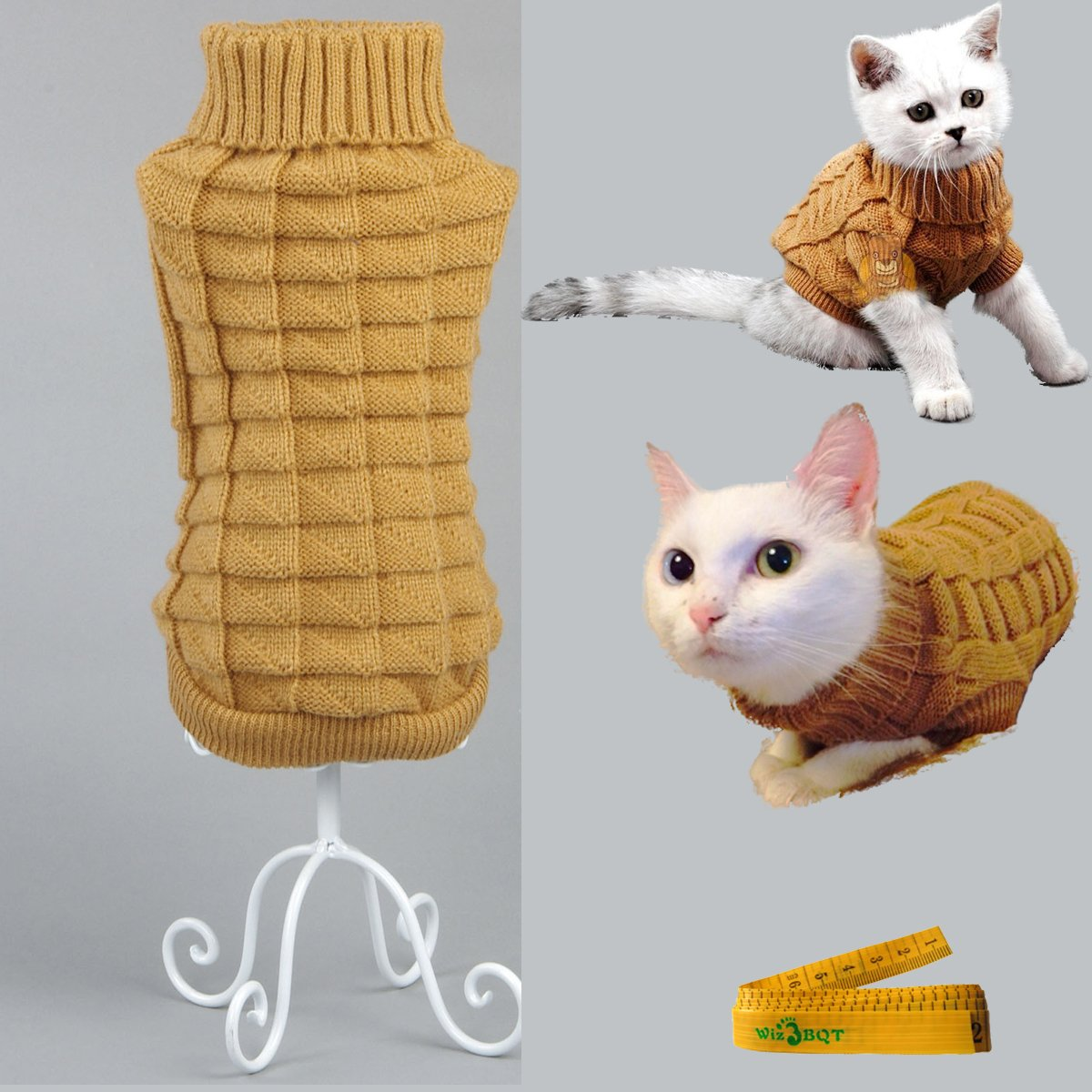 orange XS orange XS Knitted Braid Plait Turtleneck Sweater Knitwear Outerwear for Dogs & Cats