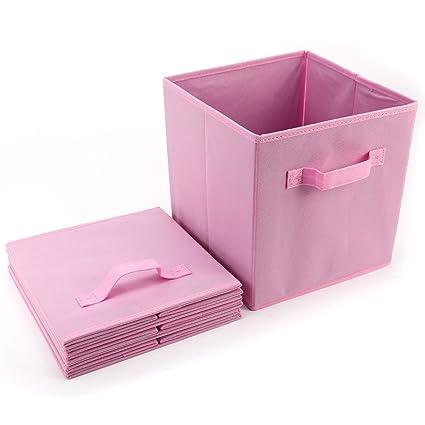 Anladia - 4 cajas organizadoras de tela, plegables, para estanterías y cajones
