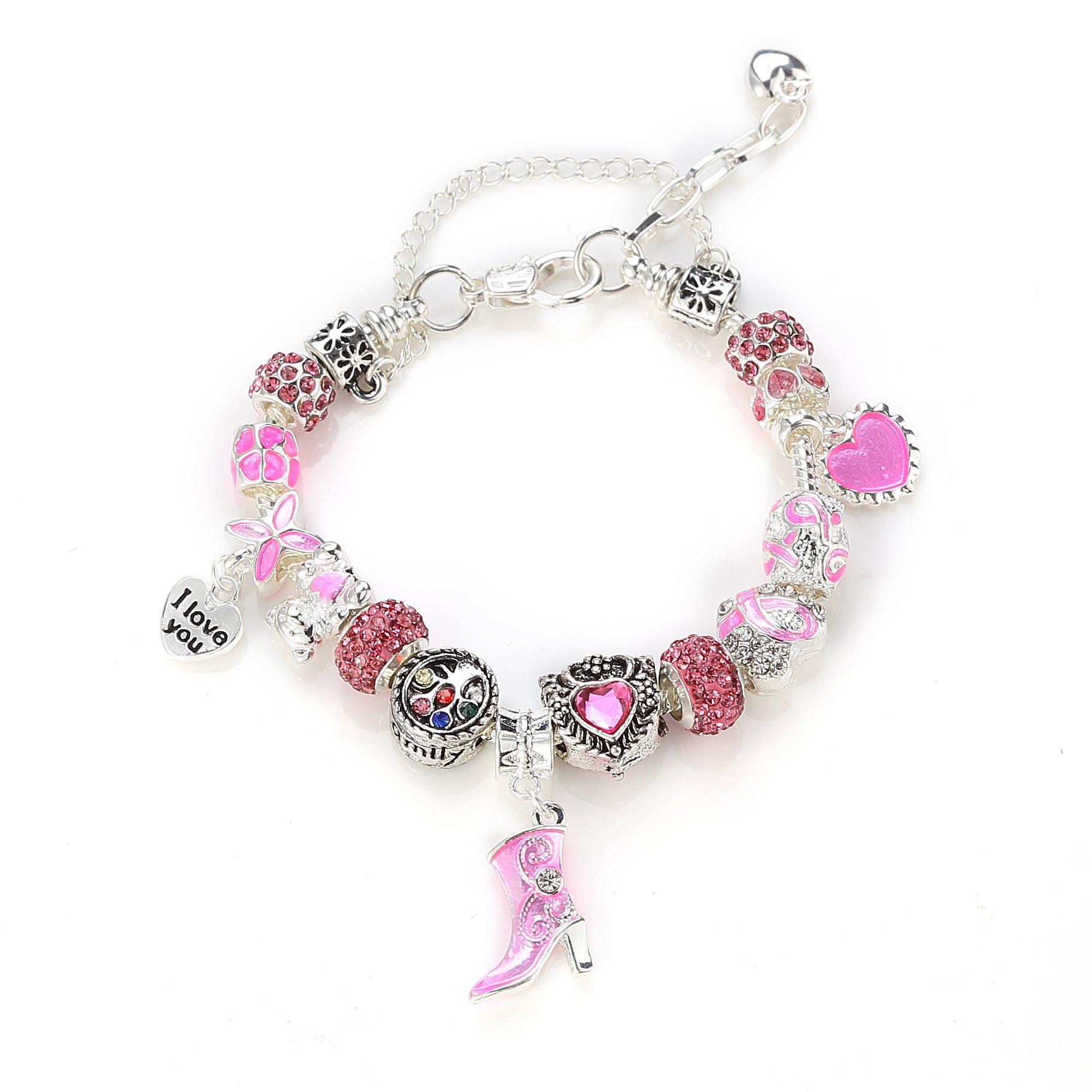 NOVADAB Pink Ribbon Breast Cancer Awareness Charms Bracelet, Silver Tone 'I  Love You' Bead Bracelet