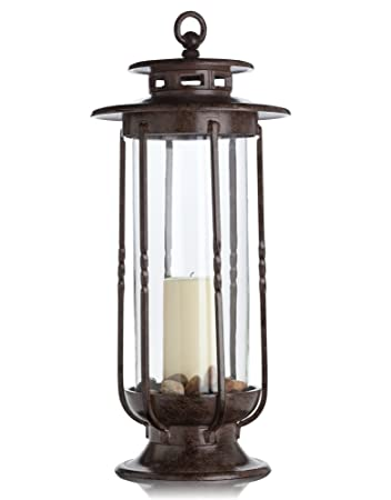 H Potter Large Decorative Hurricane Lantern Glass Candle Holder Cast Iron Rustic Indoor And Outdoor Light With Powder Coat Finish Centerpiece For Home