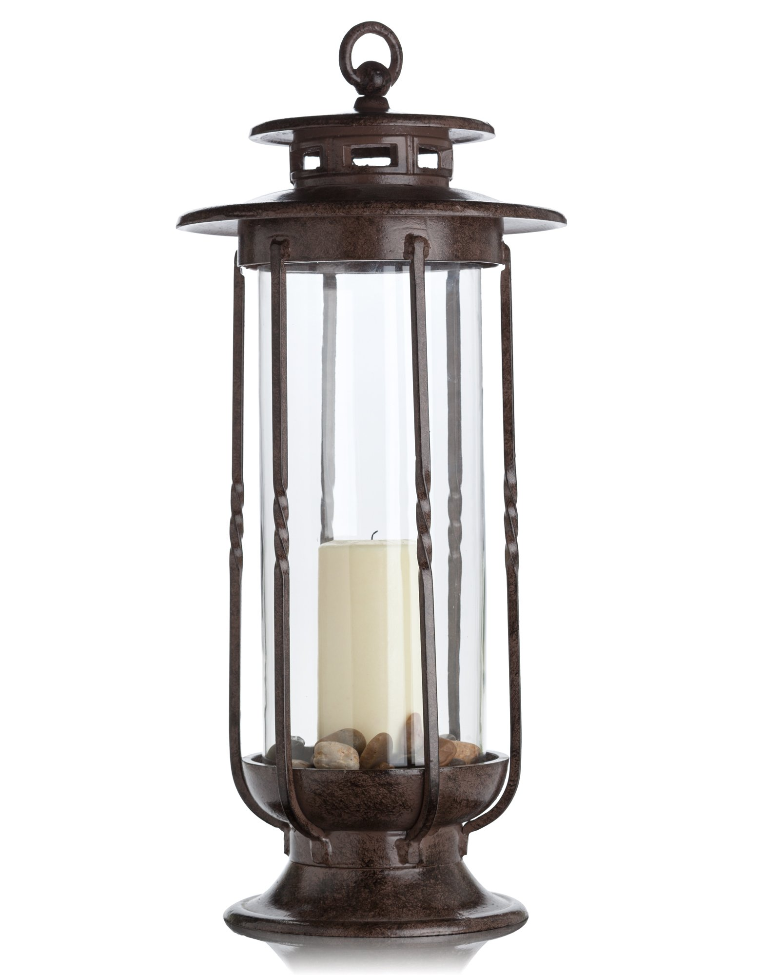 H Potter Large Decorative Hurricane Lantern Glass Candle Holder, Cast Iron, Rustic Indoor & Outdoor Light with Powder Coat Finish Centerpiece for Home, Wedding & Farmhouse Decor by H Potter