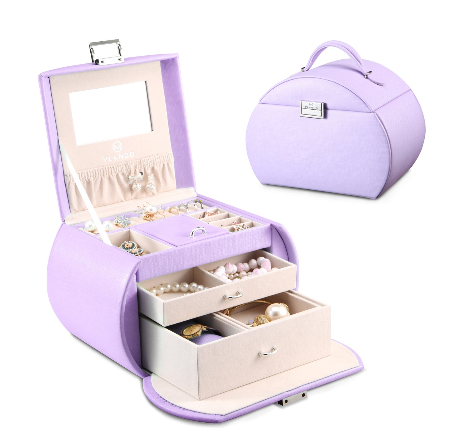 Vlando Princess Style Jewelry Box from Netherlands Design Team, Fabulous Christmas Gift for Girls (Purple) by Vlando