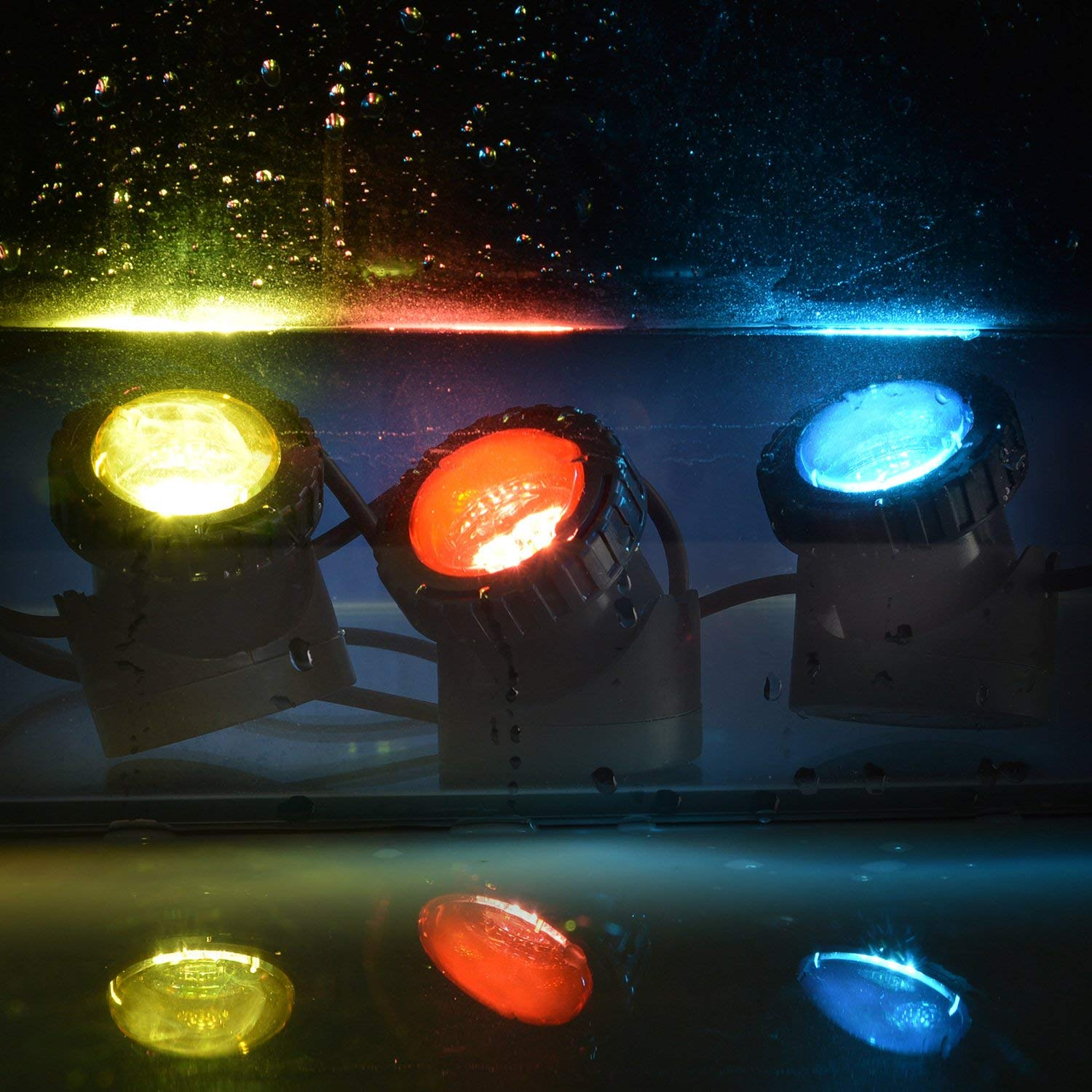 Pond Lights Remote Control Submersible Lamp Set of 4 IP68 Underwater Aquarium Spot light 48-LED Multi-color with Timer Setting Decoration Landscape Lamp for Swimming Pool Fish Tank Fountain Water