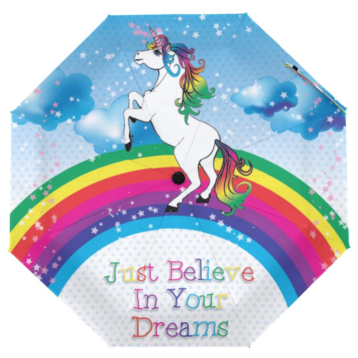 クーパーガールズユニコーンBelieve Your Dream傘太陽雨旅行の傘UV保護キッズガールズボーイズ   B07FXHDN9F