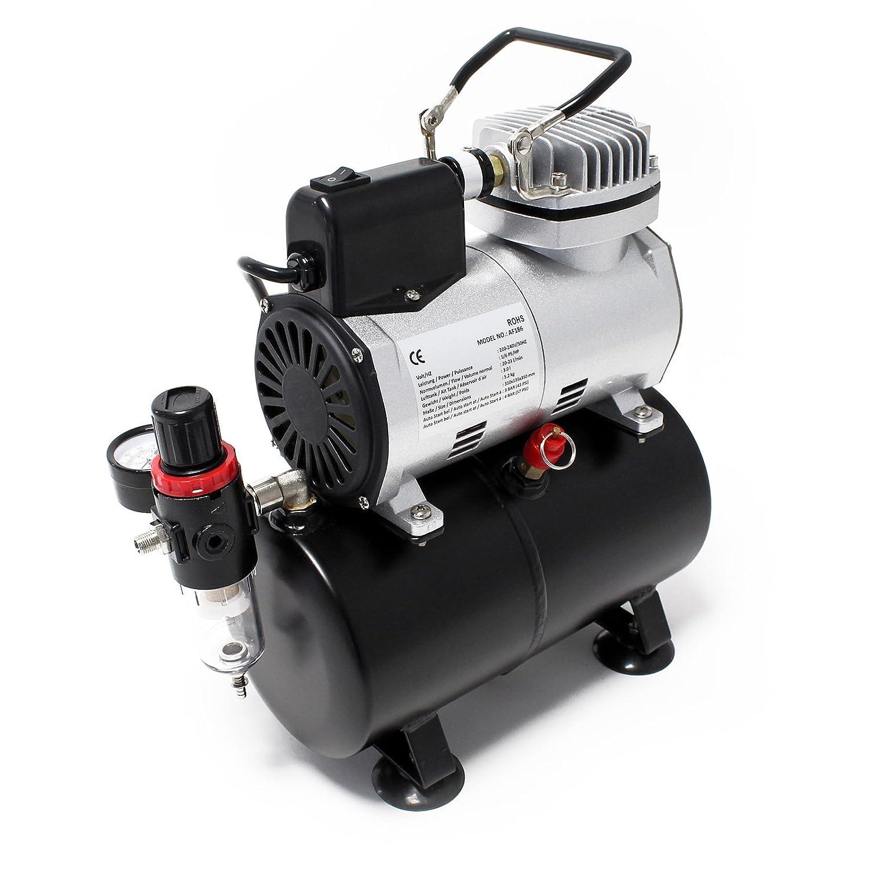 Compressore per aerografo AF186 con serbatoio d'aria Riduttore di pressione 4 bar Arresto automatico WilTec