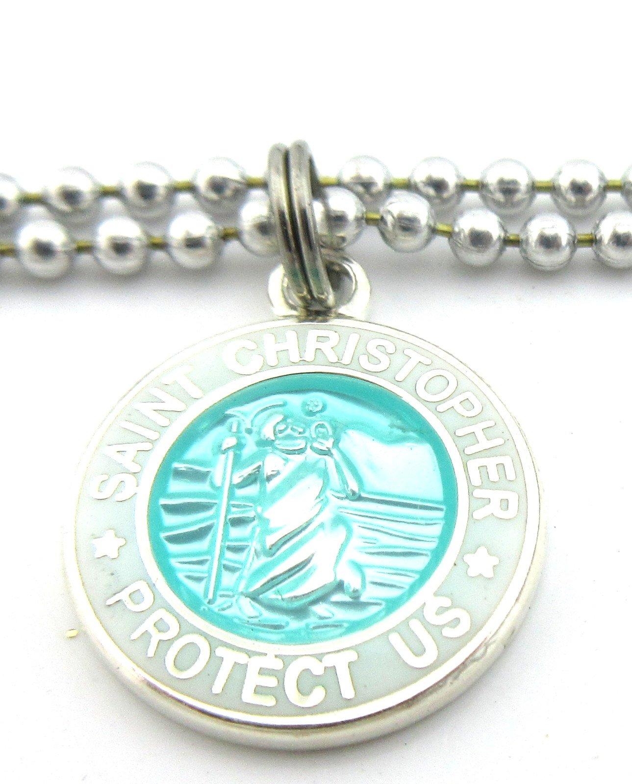 Mini Saint Christopher Surf Medal Pendant Necklace,Aquamarine/White AQ/WH