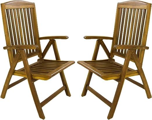 Edenjardi Pack 2 sillones para terraza reclinables y Plegables, Madera Teca Grado A, Tamaño: 62x70x107 cm, Tratamiento al Agua aplicado: Amazon.es: Jardín