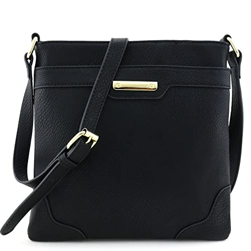 eeb9e70ec913 Women s Fashion Medium Size Crossbody Bag with Gold Plate Black ...