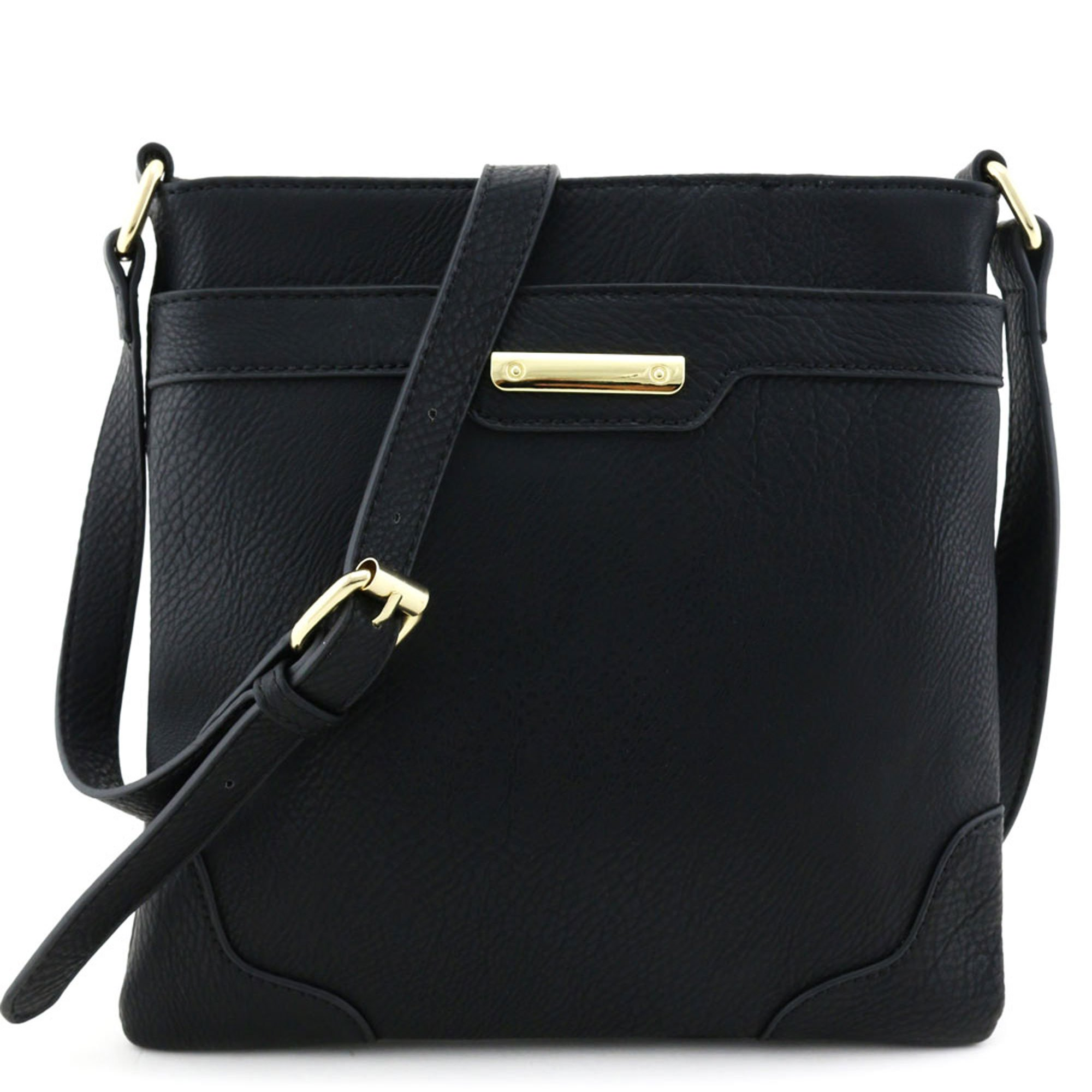 Women's Fashion Medium Size Crossbody Bag with Gold Plate Black