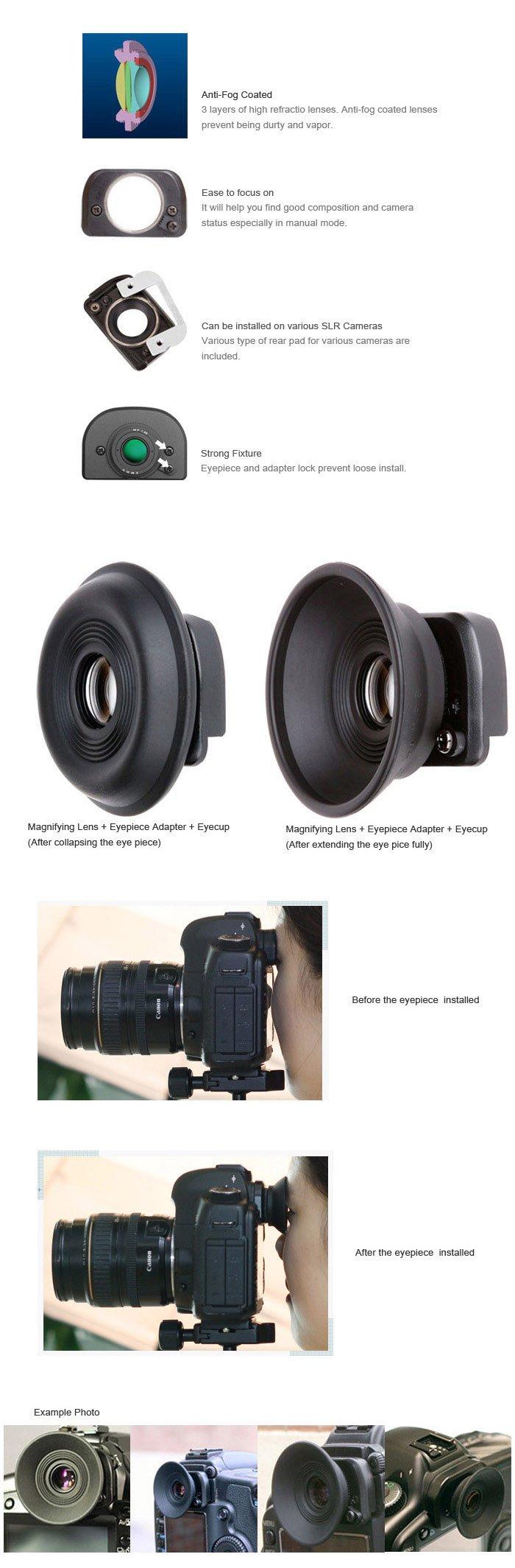 NEW SMDV 1.35x Magnifying Universal Eyepiece Eyecup E01 for Canon Nikon Sony etc