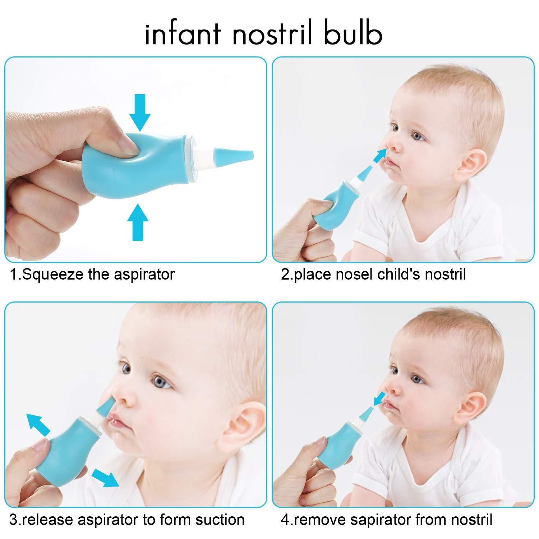 Blau Baby Nasensauger WADEO inklusive Pipette und zus/ätzlichem Schlauch-Aufsatz zum Saugen mit dem Mund und zum Pumpen f/ür Babys Nase geeignet