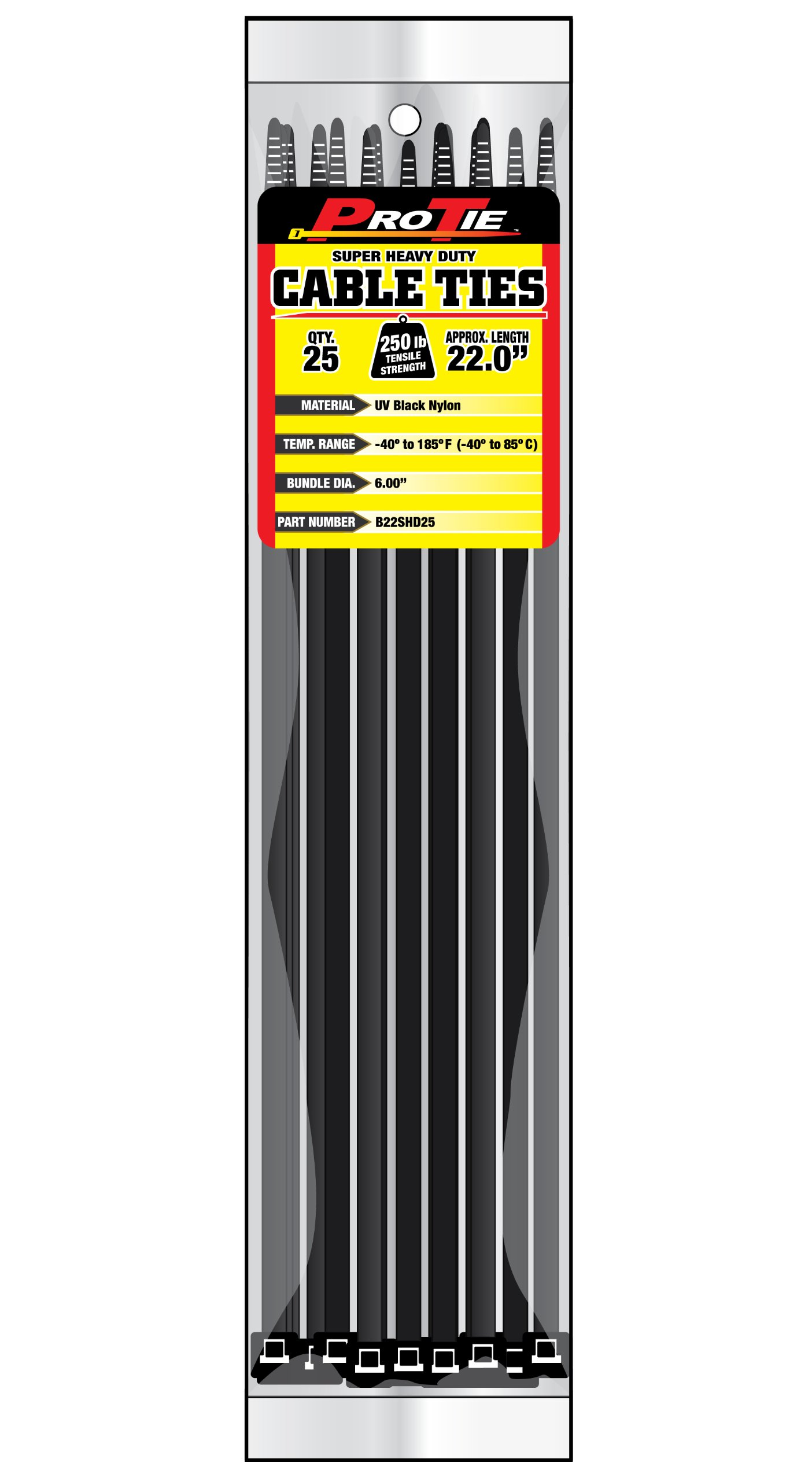 Pro Tie B22SHD25 22-Inch Super Heavy Duty Standard Cable Tie, UV Black Nylon, 25-Pack
